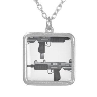 Uzi Gun vector Square Pendant Necklace