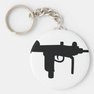 Uzi gun weapon icon basic round button keychain