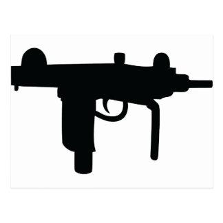 Uzi gun weapon icon postcard