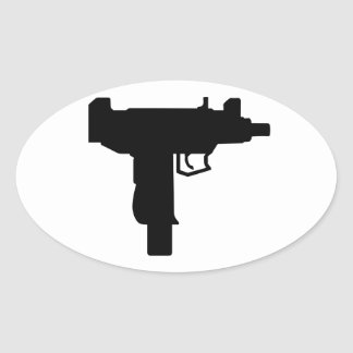 Uzi Oval Stickers