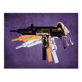 Uzi Sub Machine Gun on Purple Postcard