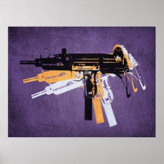 Uzi Sub Machine Gun on Purple Poster