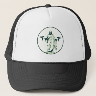 Uzi Toting Jesus Trucker Hat