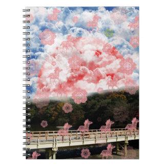 Uzibasi and cherry tree and stripe stripe notebook