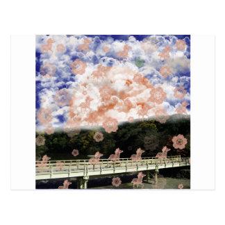 Uzibasi and cherry tree and stripe stripe postcard