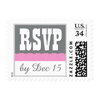 V01 rosado y gris del estilo rústico de RSVP del Sellos