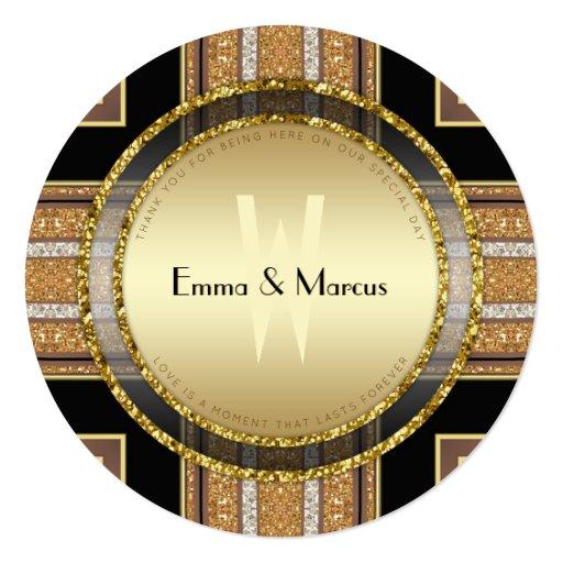 V1 Art Deco Gold  Round Wedding  Menu Card
