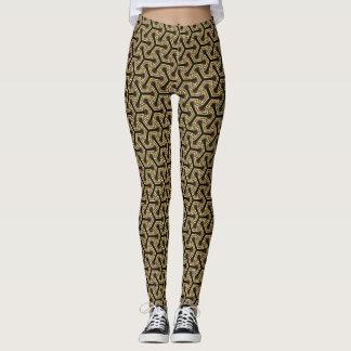 V1 Gold Black Geometric Pattern Leggings ★Psydefx★