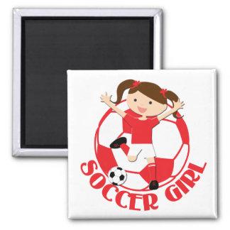 V2 rojo y blanco del chica 1 y del balón de fútbol imán cuadrado