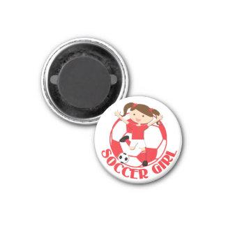 V2 rojo y blanco del chica 1 y del balón de fútbol imán redondo 3 cm