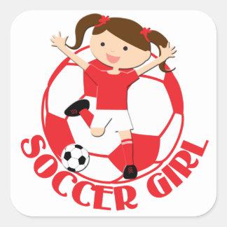 V2 rojo y blanco del chica 1 y del balón de fútbol pegatina cuadradas