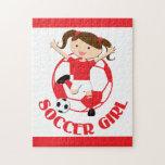 V2 rojo y blanco del chica 1 y del balón de fútbol rompecabezas