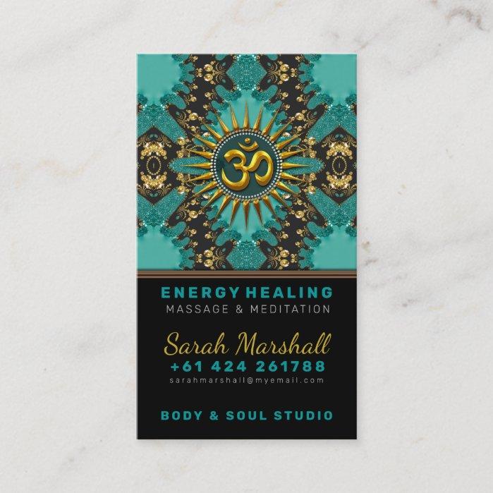 V2 Teal Gold Eastern Sparkle OM Yoga Business Card by Webgrrl • onlinecards