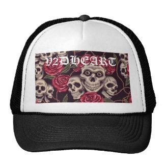 V2DHEART CUSTOM SKULLS & ROSES BLACK HAT