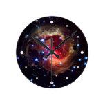 V838 Monocerotis Star (Hubble Telescope) Round Wallclocks