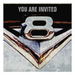 V8 Chrome Black and Grey Masculine Party Personalized Invite