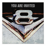 "V8 Chrome Black and Grey Masculine Party 5.25"" Square Invitation Card"