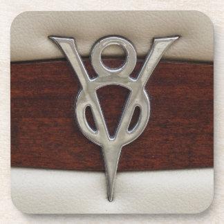V8 Chrome Emblem Leather and Wood Coaster