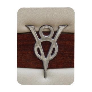 V8 Chrome Emblem Leather and Wood Rectangular Photo Magnet