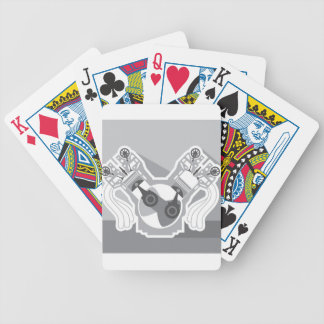 V8 engine cross section vector bicycle playing cards