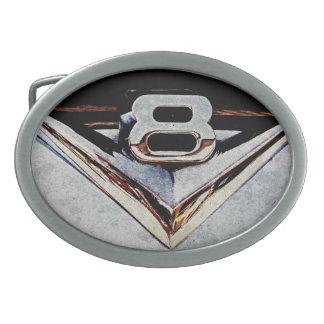 V8 Engine Emblem Oval Belt Buckle