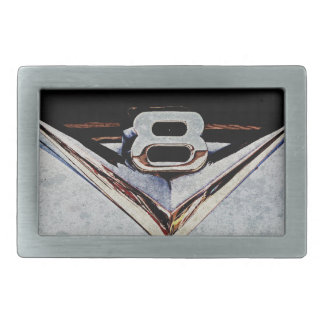V8 Engine Emblem Rectangular Belt Buckle
