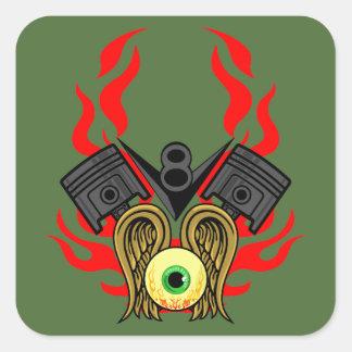 V8 Piston Heads Flying Eye Square Sticker