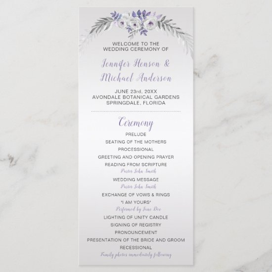 V#2 Purple Gray Silver Floral Wedding Program
