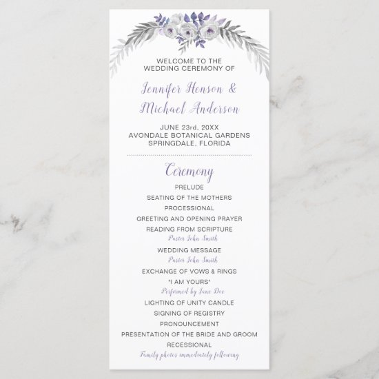 V#2 Purple Lavender Gray Floral Wedding Program