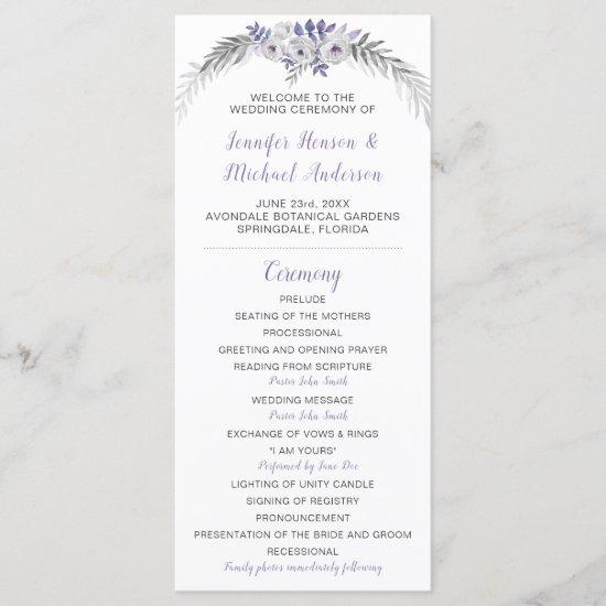 V#2 Purple Lavender Gray Floral Wedding Program