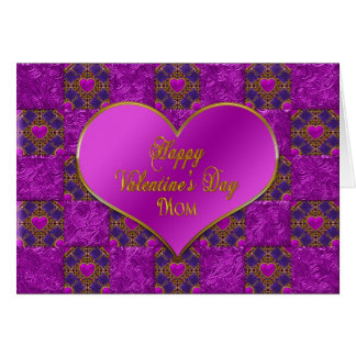 V ALENTINE'S DAY - MOTHER - HEARTS- FUCHSIA/PURPLE GREETING CARD