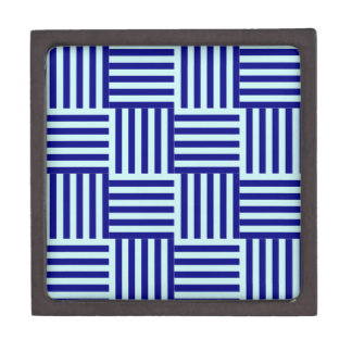 V and H Broad Stripes - Pale Blue and Navy Blue Premium Trinket Boxes