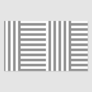 V and H Simple Broad Stripes-Gray and Light Gray Rectangular Sticker