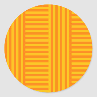 V and H Simple Broad Stripes - Orange and Amber Classic Round Sticker
