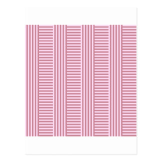 V and H Simple Stripes - Pink Lace and Puce Postcard