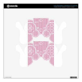 V and H Simple Wide Zigzag - Pink Lace and Puce Skin For PS3 Controller