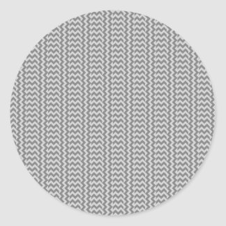 V and H Simple Zigzag - Gray and Light Gray Classic Round Sticker