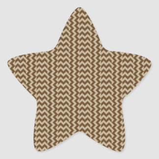 V and H Simple Zigzag - Khaki and Dark Brown Star Stickers