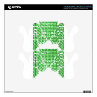 V and H Simple Zigzag - Offwhitegreen and Green PS3 Controller Skins