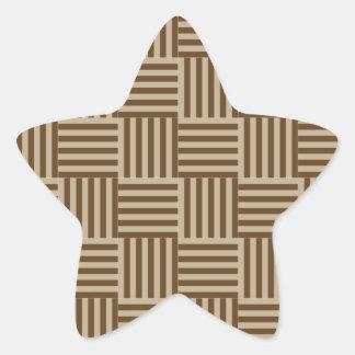 V and H Stripes - Khaki and Dark Brown Star Sticker