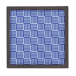 V and H Stripes - Pale Blue and Navy Blue Premium Trinket Boxes
