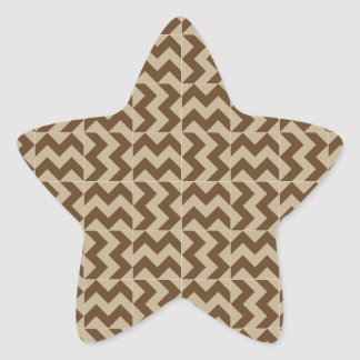 V and H Wide Zigzag - Khaki and Dark Brown Star Sticker