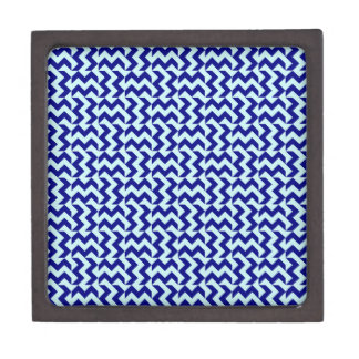 V and H Wide Zigzag - Pale Blue and Navy Blue Premium Gift Boxes