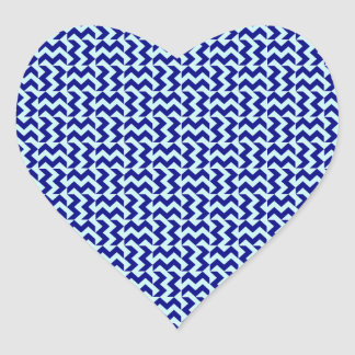 V and H Zigzag - Pale Blue and Navy Blue Heart Sticker