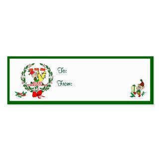V - CHRISTMAS ELF MONOGRAM GIFT TAGS BUSINESS CARD TEMPLATE