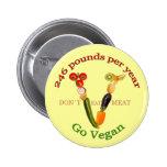 """""""V"""" con lema vegetariano Pins"""