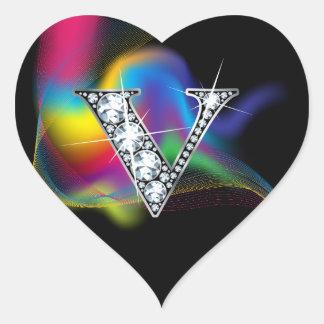 """V"" Diamond Bling on Rainbow Swirl Heart Sticker"