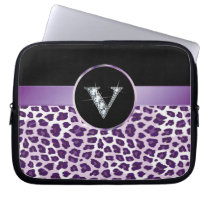 "V ""Diamond"" Purple Leopard & Ribbon Electronics Ba Computer Sleeve"