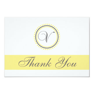 V Dot Circle Monogam Thank You Cards (Yellow/Gray)