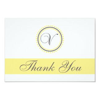 V Dot Circle Monogam Thank You Cards (Yellow/Gray)